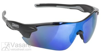 sun glasses, MIGHTY, black, blue iridium coated lens, with spare lens in clear, orange and smoke, box